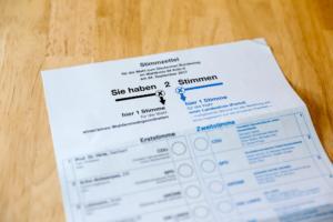 Stimmzettel für die Wahl zum Deutschen Bundestag